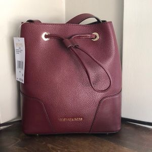 Michael Kors Cary Small Oxblood Leather Bucket Bag